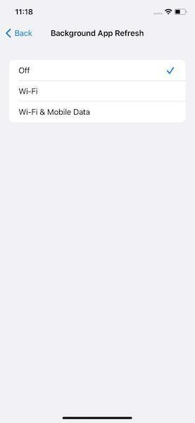 Disable iPhone Background App in iPhone