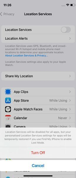 Location Services off in iphone